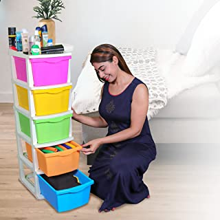 PARASNATH Boxo 5 Layer (Multicolour) Multi-Purpose Modular Drawer Storage System for Home and Office with Trolley Wheels a...