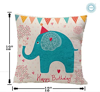 STITCHNEST Happy Birthday Gifts Balloons Heart and Elephant Printed Micro Satin Square Cushion Covers,Blue and Pink,Set of 1 (12 x 12 Inches)