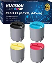 HI-Vision Compatible Samsung CLP-300, CLP300 Black and Color Toner Cartridge Replacement Set (1 Black, 1 Cyan, 1 Yellow, 1 Magenta, 4 Pack) for CLP-300, CLP-300N, CLX-3160FN, CLX-2160N