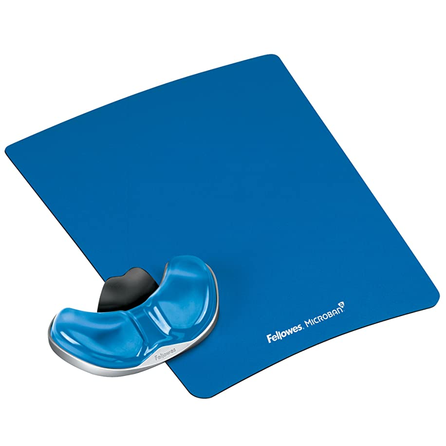 Fellowes Gliding Palm Support with Microban Protection, and Mouse Pad, Gel, Blue (9180601)