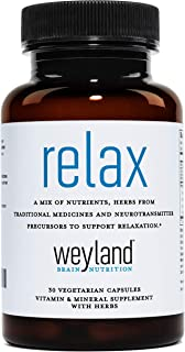 Weyland: Relax - Stress Support Supplement (w/L-Theanine, Ashwagandha, Rhodiola Rosea, Valerian Root) (1 Bottle (30 Count))