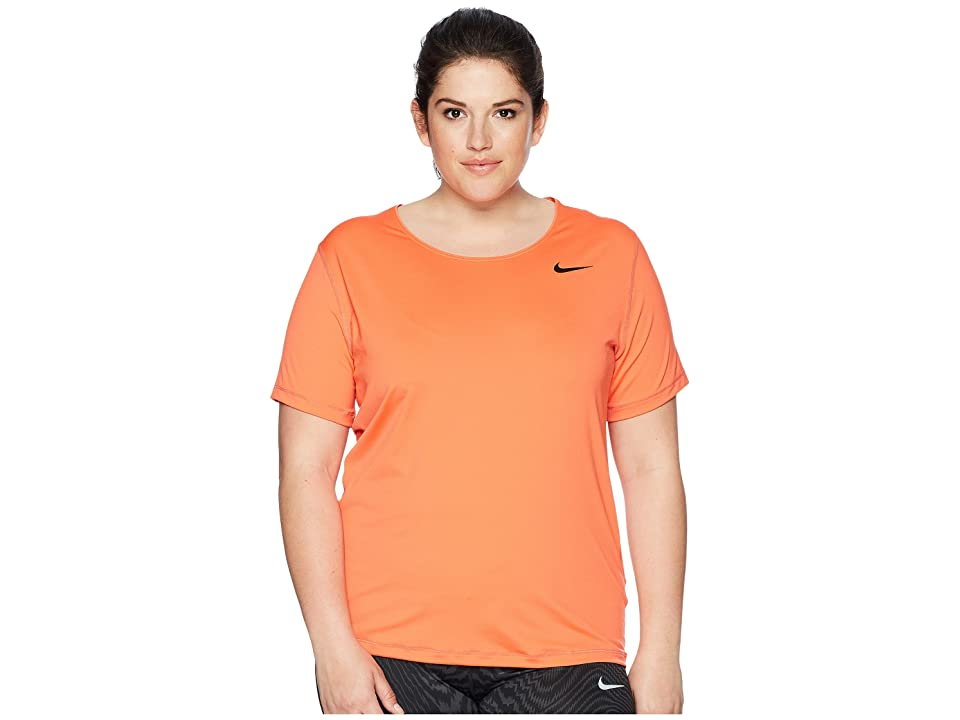 Nike Pro Mesh Short Sleeve Top (Size 1X-3X) (Rush Coral/Black) Women