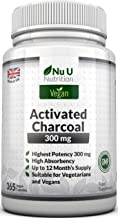 Activated Charcoal 300mg Vegan 365 Capsules (not Tablets) | One Year Supply of Triple Strength Activated Charcoal by Nu U Nutrition