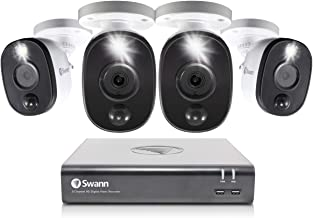 Swann 8 Channel 4 Camera Security System, Wired Surveillance 1080p HD DVR 1TB HDD, Audio Capture, Weatherproof, Color Nigh...