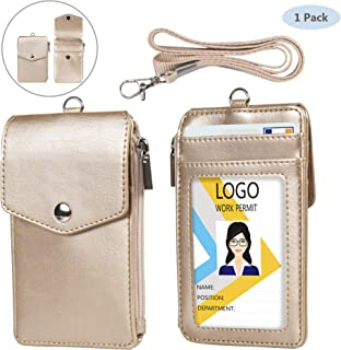 Leather Badge Holder with Lanyard,1 Clear ID Window and 3 Card Slots with Secure Snap Button Cover, 1 Zipper Wallet Pocket,1 Durable Nylon Lanyard for Offices ID,School ID, Credit Cards-Gold