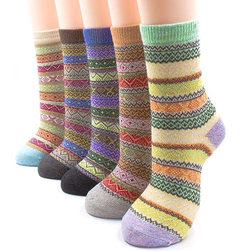 b6904d21e3bed Packs of 5 Crew Socks Women Wool Fuzzy Winter Colored Knit Sox Striped By  JIYE