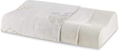 """The White Willow Cervical Orthopedic Memory Foam King Size Contour Neck Support Sleeping Bed Pillow with Removable Cover (24"""" L x 16.5"""" W x 4.5"""" H) -Multicolour"""