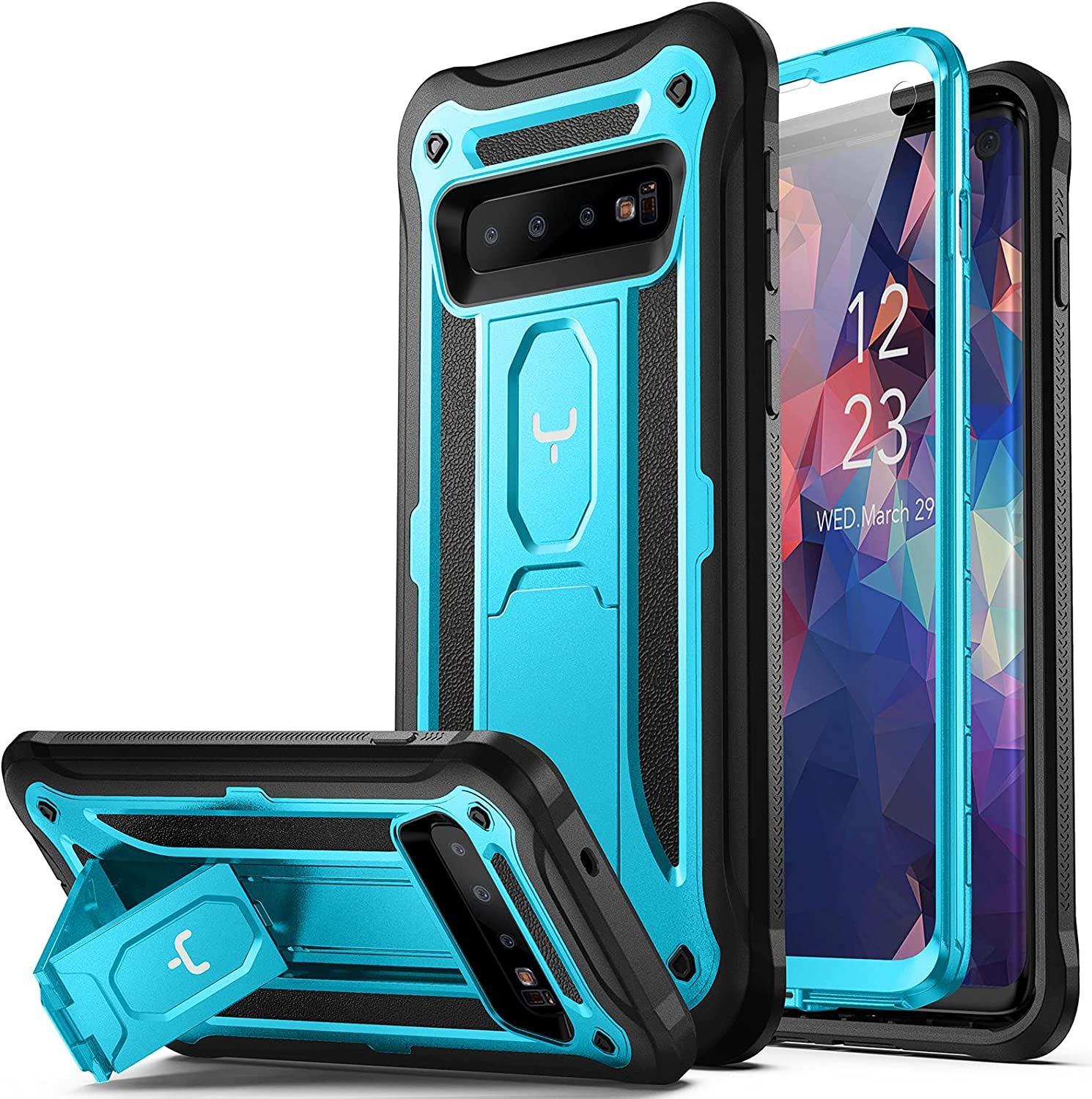 YOUMAKER Case for Galaxy S10, Kickstand Case with Built-in Screen Protector Heavy Duty Protection Shockproof Full Body Slim Fit Cover for Samsung Galaxy S10 6.1 inch - Blue