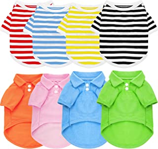 8 Pieces Pet Elastic Shirts Cotton Polo Dog Shirt Breathable Striped Pet Apparel Colorful Puppy Sweatshirt Dog Clothes for Small to Medium Dogs Puppy