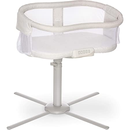 HALO BassiNest Swivel Sleeper, Bedside Bassinet, Soothing Center, Vibration and Sound, Premiere Series, Pebble