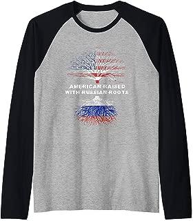 American Raised with Russian Roots Russia  Raglan Baseball Tee