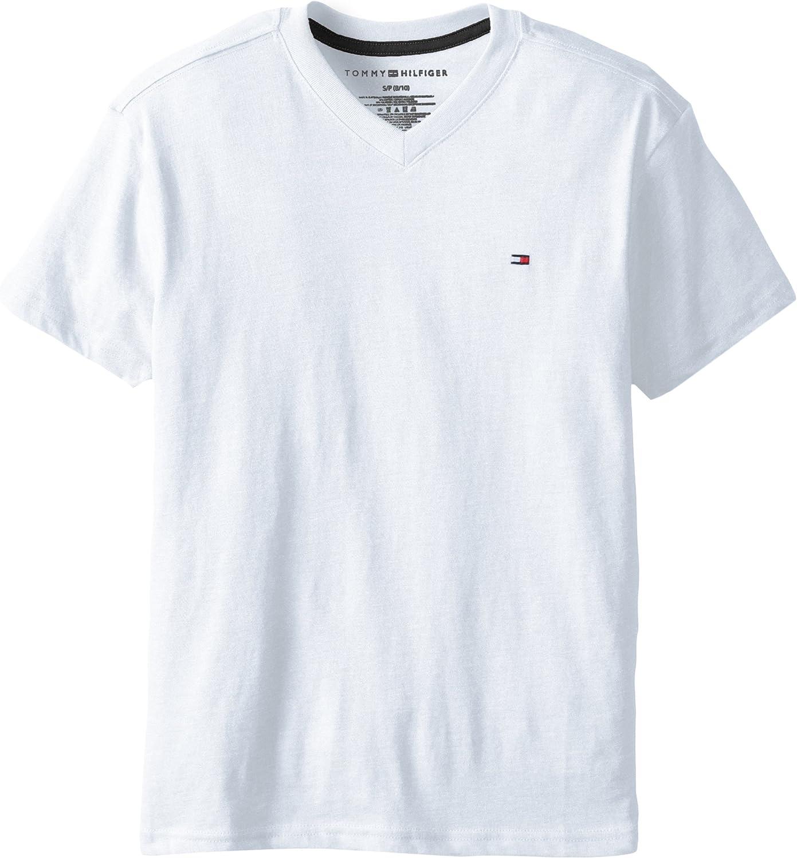 Tommy Hilfiger Boys' Big Short Sleeve Ken, 100% Cotton Jersey, Solid Color with Embroidered Logo, V-Neck & Crewneck Ringer T-Shirt Styles, White, Medium (12/14)