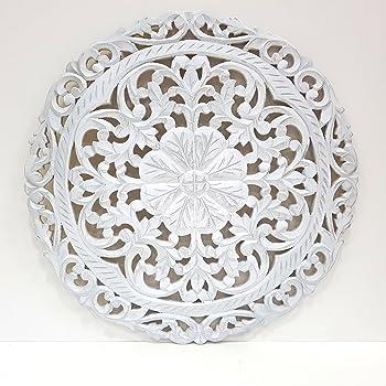 Mandala de Pared, Fabricada artesanalmente en España- Tamaño 60x60 cm, Modelo GR 80. Forma Redonda (Blanco Patina Plata): Amazon.es: Hogar