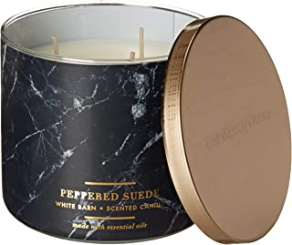 White Barn 3 Wick Candle 14.5 oz in Peppered Suede (Bergamot, Black Peppercorns, Amberwood, w Essential Oils