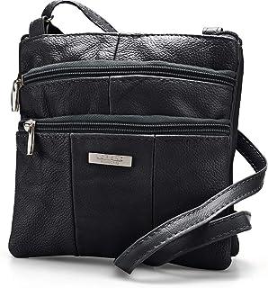 Lorenz Ladies Small Genuine Soft Leather Cross Body / Shoulder Bag (1) # 1941 - Black
