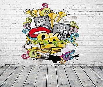 Amazon Com Apotoe 2 1x1 5m Graffiti Style Wallpaper Street Art Graffiti Wallpaper Street Style Mural Great Art Photography Backdrop Photo Backgrounds Ty002a Electronics