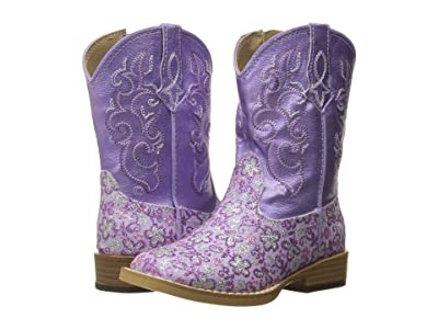 Roper Kids Lavender (Toddler) (Purple Faux Leather Glitter Print) Cowboy Boots