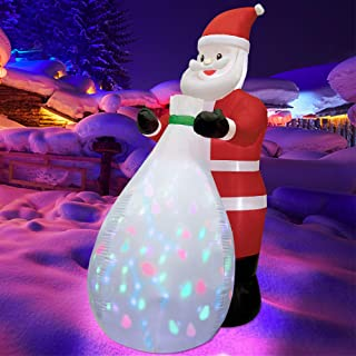 Twinkle Star 8 FT Christmas Inflatables Santa Claus with Gift Bag Colorful Rotating LED Lights, Blow Up Indoor Outdoor Xma...