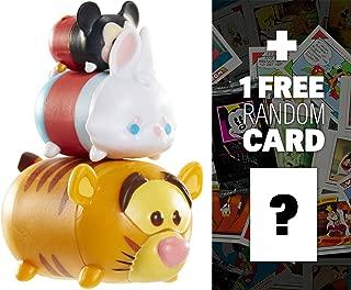 Disney TSUM TSUM Tigger, White Rabbit, Mickey 3-Micro-Figure Pack Series #1 + 1 Free Classic Disney Trading Card Bundle