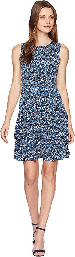Woodblock Sleeveless Flounce Dress