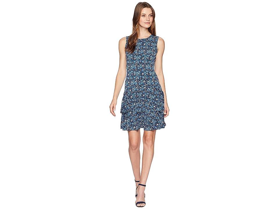 MICHAEL Michael Kors Woodblock Sleeveless Flounce Dress (True Navy/Radiant Blue) Women