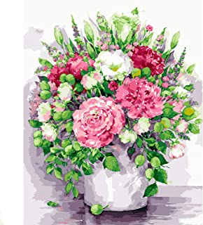 """5D Diamond Painting Kit For Adults and Kids - Full Drill Mosaic - Bright Peonies - Includes 16x20"""" Stretched Canvas, Multi-Colored Diamond Mosaics with Extra Dots, Tweezers, Stylus, Glue - By Tsvetnoy"""