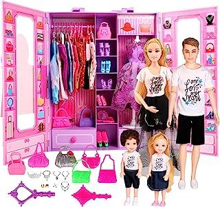 UCanaan Fashion Doll Closet Wardrobe with Family Dolls...