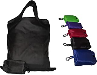 Shopping Bags Reusable Foldable Grocery Produce Tote Bags Carrier with Key-Ring Foldable Collapsible Attached Pouch Washable, Durable, Lightweight Eco-Friendly Set of 5 Dark Plain Color