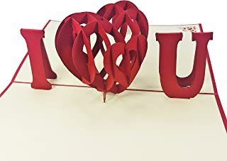 I Heart You - 3D Pop Up Card - For Love, Valentine, Birthday Card, Wedding, Anniversary