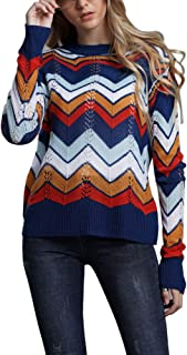 The Honest One Women's Sweater Casual Crewneck Rainbow Long Sleeve Knit Pullover Jumper Tops