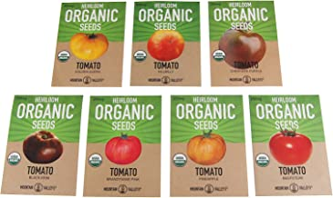 Organic Heirloom Slicing Tomato Garden Seeds – 7 Non-GMO Varieties: Pineapple, Hillbilly, Black Krim, Beefsteak, Brandywine Pink, Cherokee Purple Tomato & Golden Queen