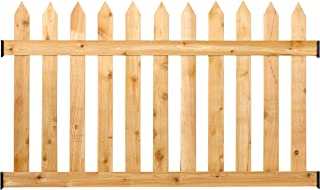 Outdoor Essentials Rustic Cedar Spaced Picket Fence Panel Kit, 3.5 ft. H x 6 ft. W