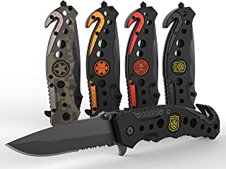 3-in-1 Police First Responders Tactical Knife for EMT, Police, Fire, Rescue and Military with Glass Breaker, Seatbelt Cutter and Steel Serrated Blade