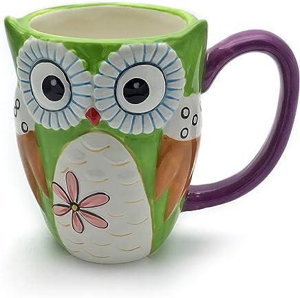 Preisvergleich für Unbekannt Eule Tasse groß, grün, lustig mit Tier Motiv in 3D Eule | Jumbo Tasse 350ml (430ml randvoll) | Kaffeetasse/Teetasse aus Keramik | Tasse Eule | die perfekte Geschenkidee