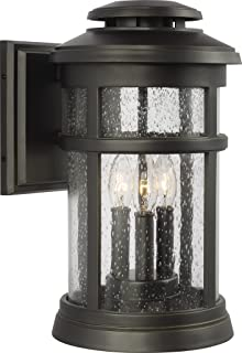 Feiss OL14302ANBZ Newport StoneStrong Marine Grade Outdoor Patio Lighting Wall Lantern, Bronze, 3-Light (9
