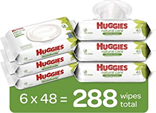 Huggies Natural Care Sensitive Baby Wipes, Unscented, 6 Flip-Top Packs (288 Wipes Total)