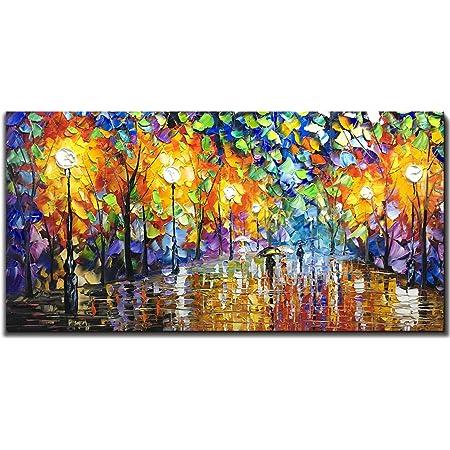 V-inspire Art, 24X48 Inch Oil Paintings on Canvas Wall Art 100% Hand-Painted Contemporary Artwork Abstract Artwork Night Rainy Street livingroom Bedroom Dinning Room Art Home Decorative