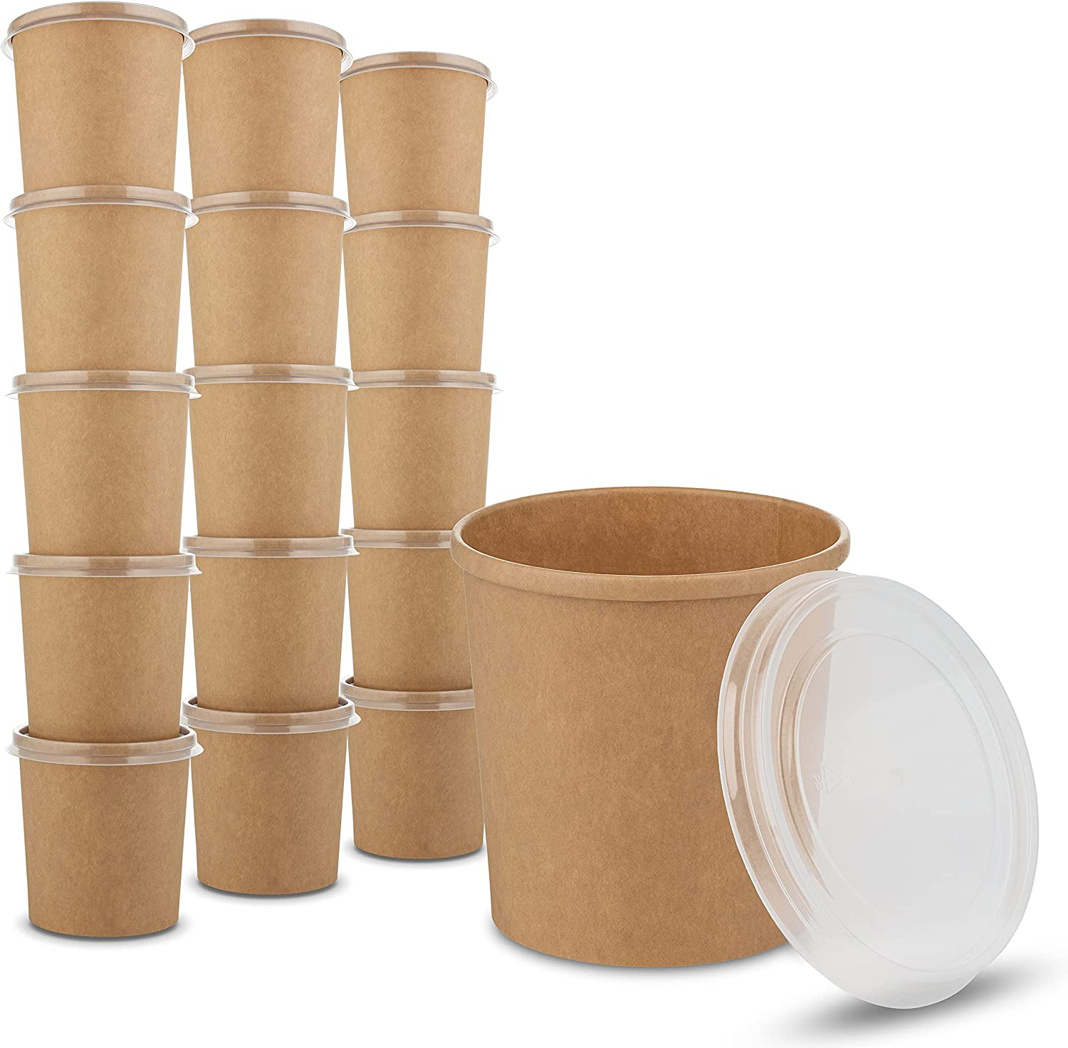 16 oz. Kraft Paper Cups - Bowls for Hot Food and Soup or Cold Ice Cream with Vented Plastic Lids to Prevent Leaks by MT Products - (20 Cups and 20 Lids)