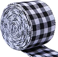 URATOT White and Black Plaid Burlap Ribbon Gingham Christmas Wrapping Ribbon Wired Plaid Ribbon for Crafts Decoration, Flo...