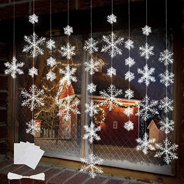 BTNOW 63 Pieces 4 Sizes White Christmas Snowflake Decorations Snowflake Ornaments Garland 8 Meters White Strings And 60 Pieces Round Double Side Tape For Home Christmas Holiday Party Decorations