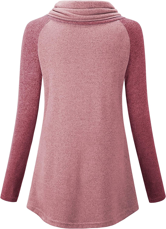 NEWMEEN Women Cowl Neck Sweatshirts Color Block Long Sleeve Pullover Tunic Shirt