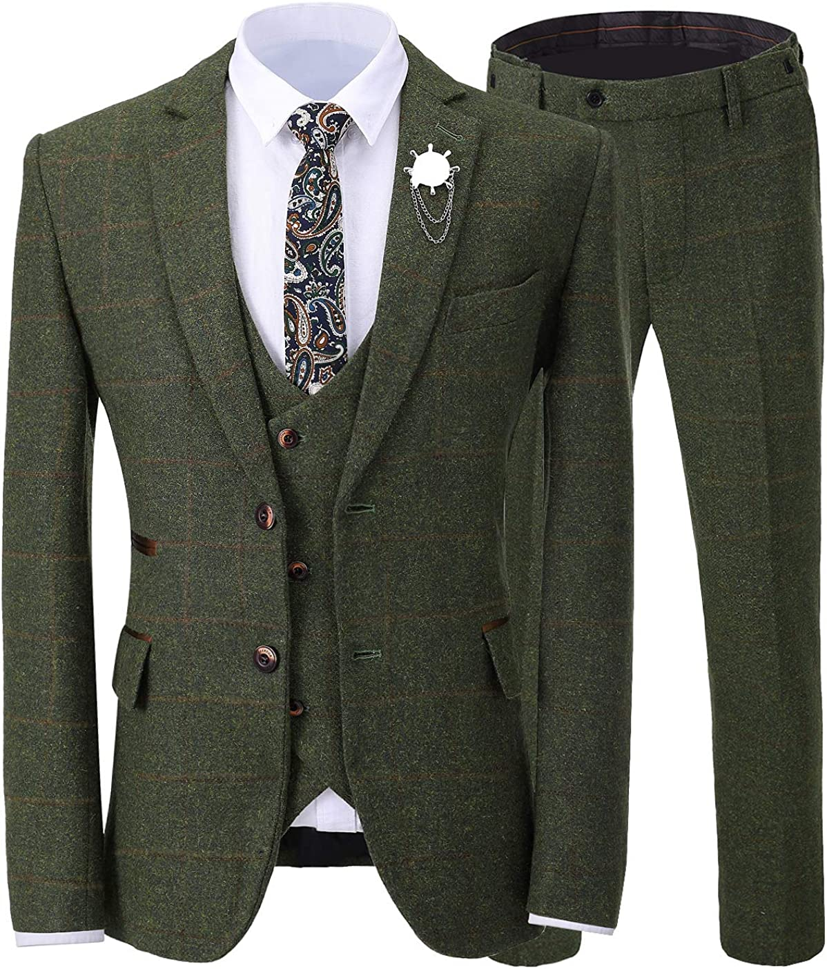 Men's 3 Pieces Formal Tweed Mens Suit Slim Fit Plaid Tuxedos for Wedding Groomsmen(Blazer+Vest+Pant)