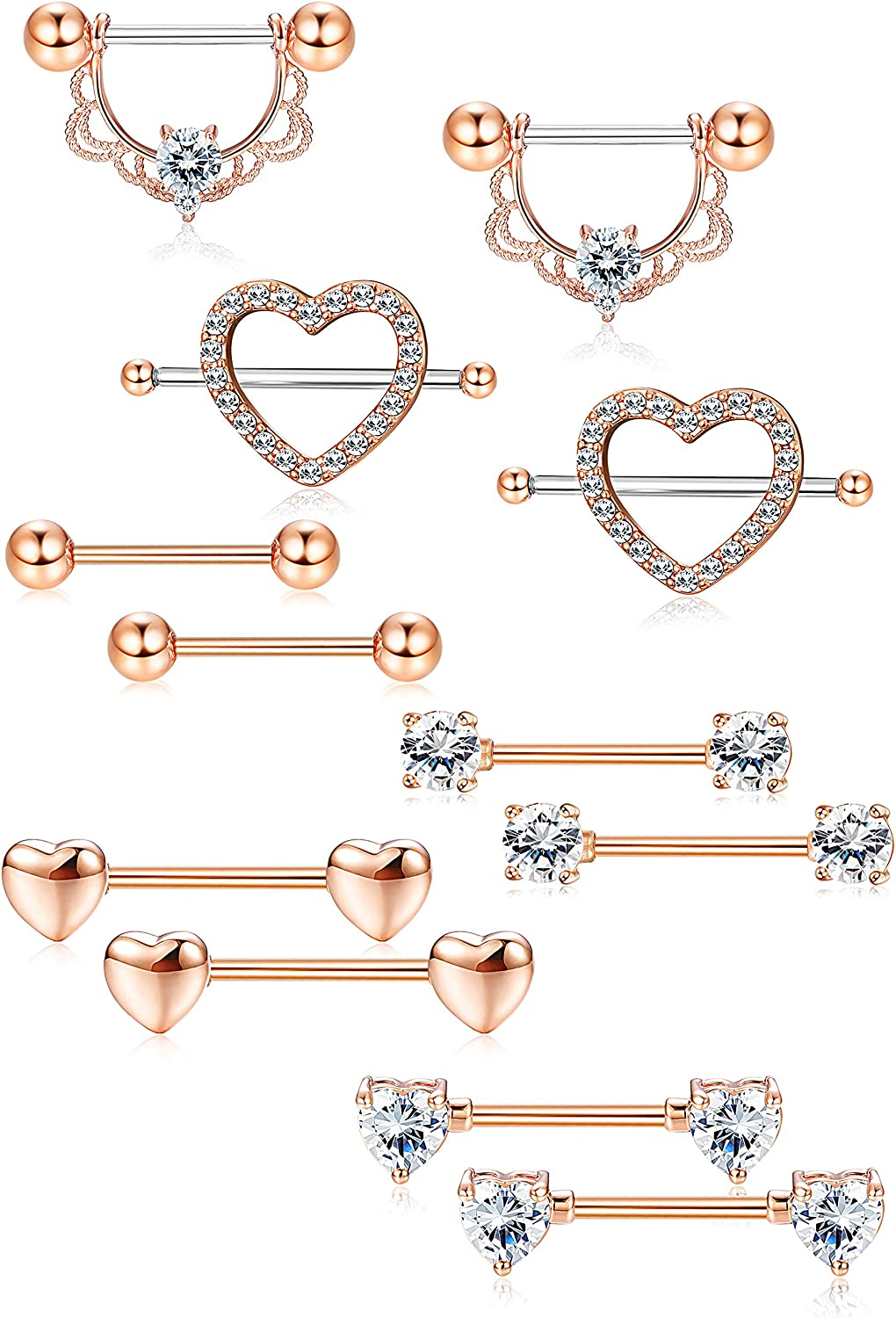 LOLIAS 6Pairs Stainless Steel Nipple Ring Piercing for Women Girls Nipple Studs Nipple Tougue Ring Piercing Barbell Barbell CZ Heart Shape Rings Body Piercing Jewelry,Rose Gold