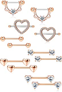 6Pairs Stainless Steel Nipple Ring Piercing for Women Girls Nipple Studs Nipple Tougue Ring Piercing Barbell Barbell CZ Heart Shape Rings Body Piercing Jewelry