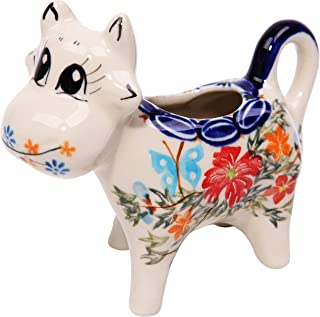 Polish Pottery Ceramika Boleslawiec, 0501/238, Creamer Cow, 1/3 Cup, Royal Blue Patterns with Red Cornflower and Blue Butterflies Motif