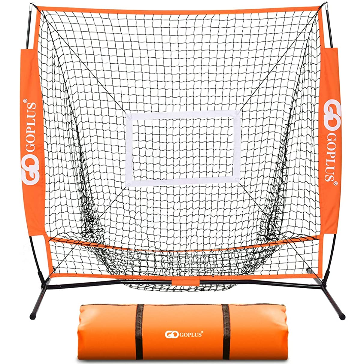 Goplus 5'×5' Baseball & Softball Net Portable Practice Net Large Mouth Outdoor Sports Net for Hitting, Pitching, Batting, Fielding and Catching w/Bow Frame & Carry Bag