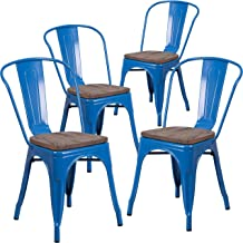 Taylor + Logan Metal Stackable Chair with Wood Seat, Set of 4, Blue