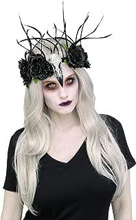 Zombie Raven Mistress Black Floral Headband Costume Accessory