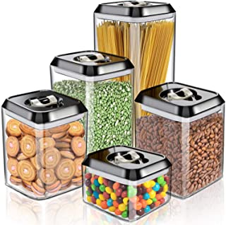 Masthome Food Storage Containers With Black Lids 5 Piece Set Kitchen and Pantry Storage For Keep Food Fresh Dry Clear Cont...