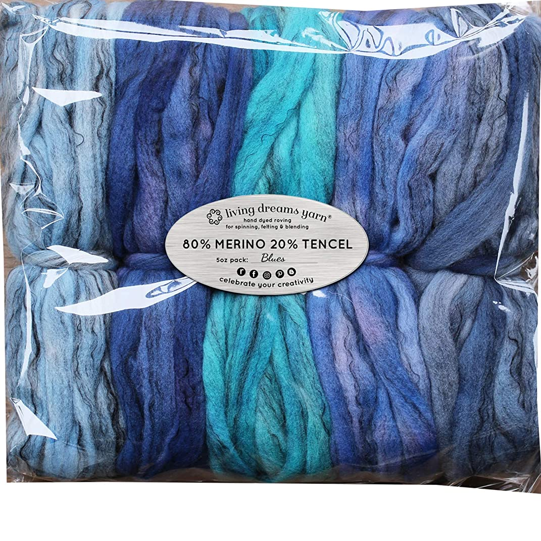 Hand Dyed Merino Tencel Spinning Fiber. Super Soft Wool Top Roving drafted for Hand Spinning, Felting, Blending and Weaving. 5 Beautifully Colored Mini Skeins Discount Pack, Blues